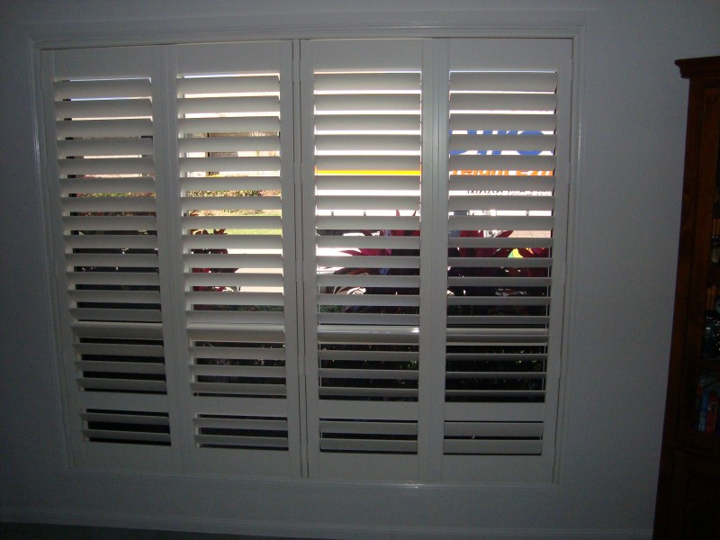 White Composite Hinged Plantation Shutters Inside Blinds